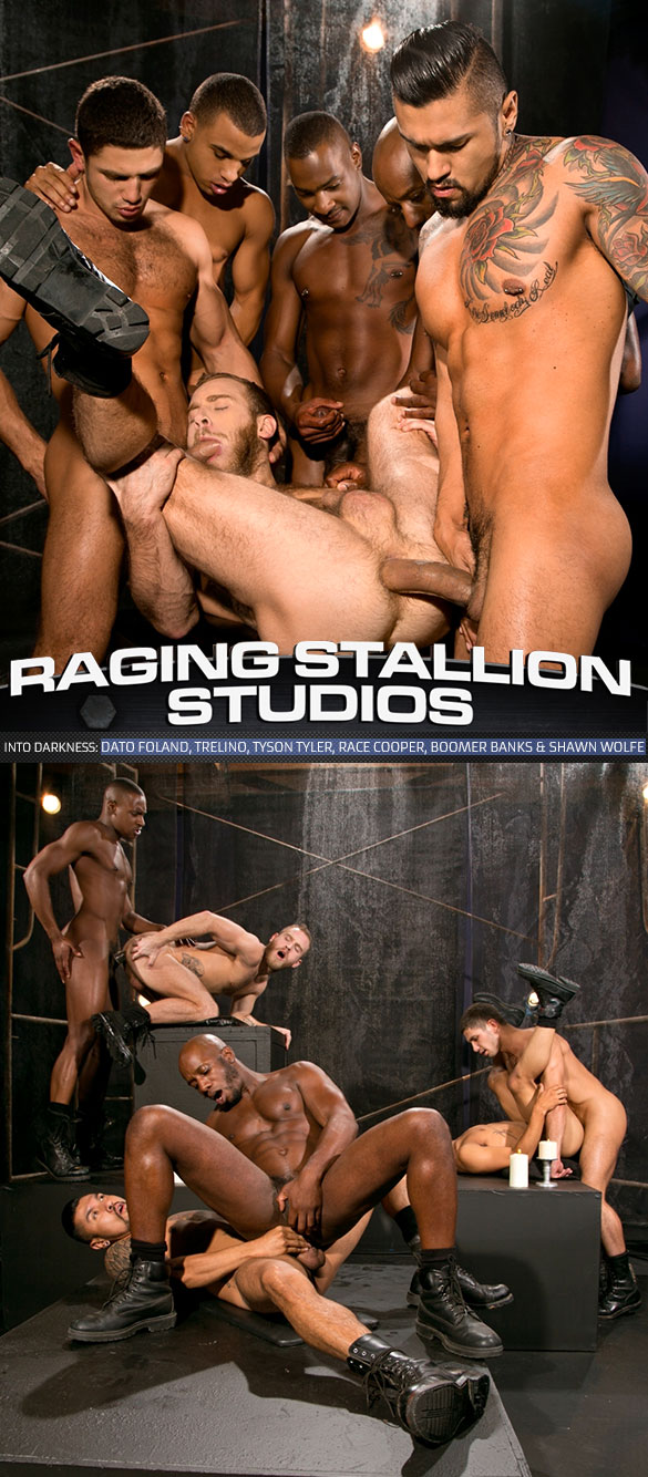 """Raging Stallion: Race Cooper, Shawn Wolfe, Boomer Banks, Trelino, Tyson Tyler and Dato Foland's hot orgy in """"Into Darkness"""""""