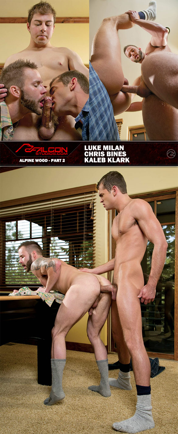 "Falcon Studios: Luke Milan, Chris Bines and Kaleb Klark in ""Alpine Wood, Part 2"""