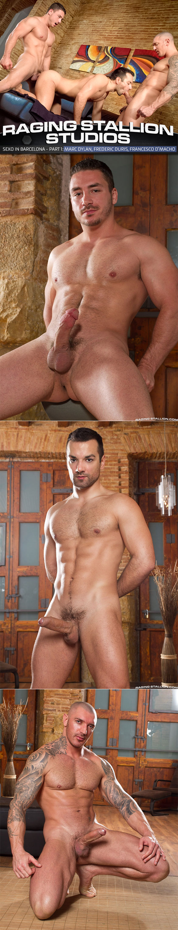 "Raging Stallion: Marc Dylan, Francesco D'Macho and Frederic Duris' hot threeway in ""Sexo in Barcelona, Part 1"""
