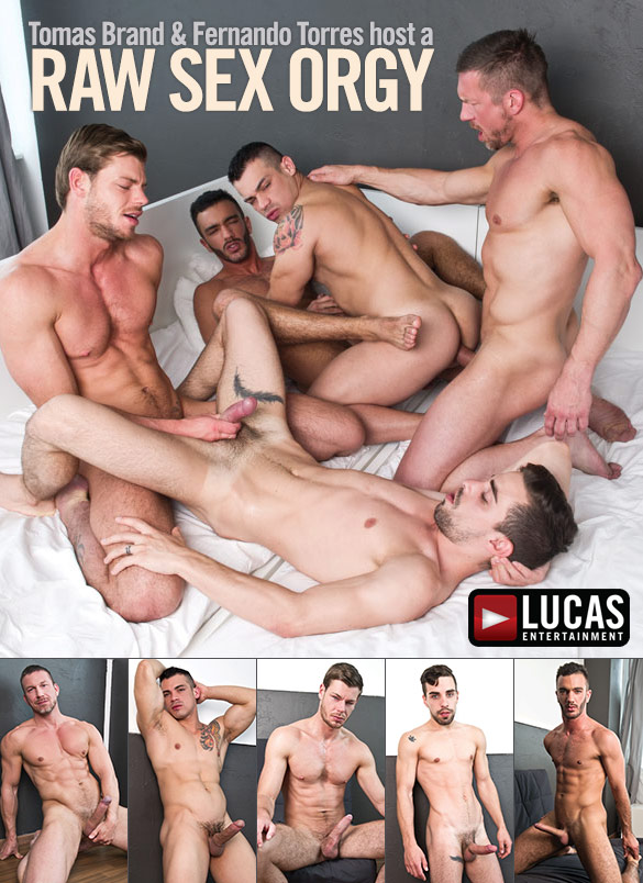Lucas Entertainment: Tomas Brand, Fernando Torres, Toby Dutch, Josh Milk and Alejandro Alvarez bang each other bareback