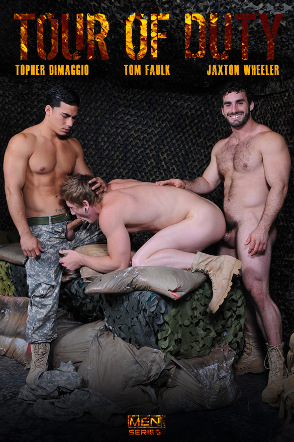 "Men.com: Tom Faulk bottoms for Topher DiMaggio and Jaxton Wheeler in ""Tour of Duty, Part 2"""