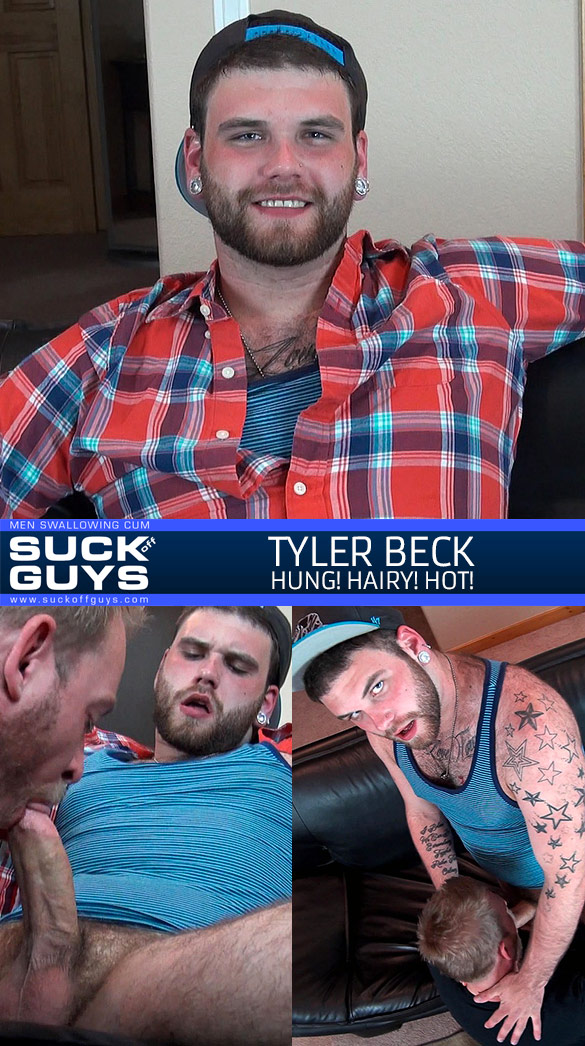 SuckOffGuys: Hairy stud Tyler Beck gets serviced