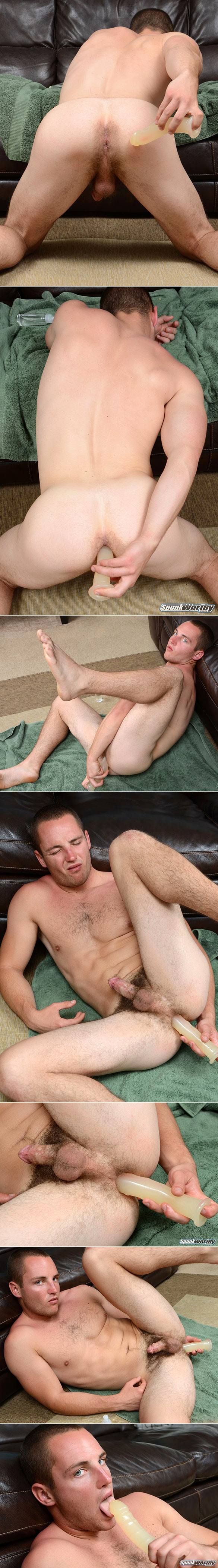 SpunkWorthy: Marine Dean fucks himself with his first dildo