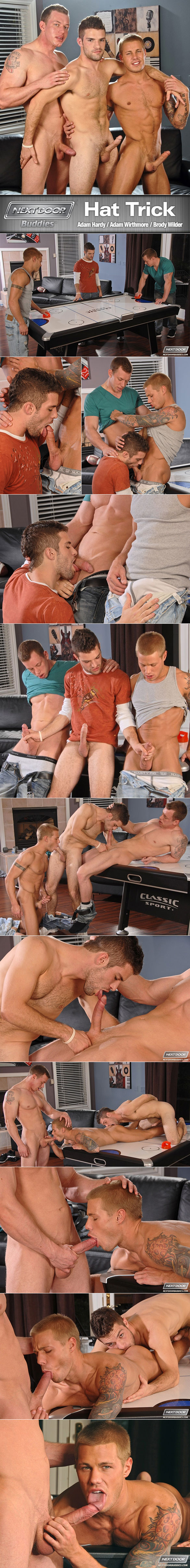 "NextDoorBuddies: Adam Wirthmore, Brody Wilder and Adam Hardy fuck each other in ""Hat Trick"""