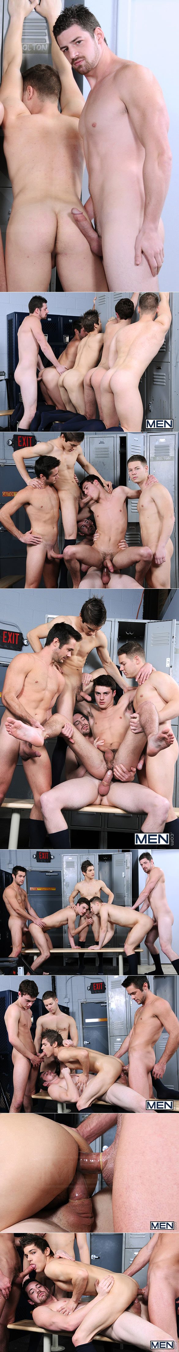 "Men.com: Andrew Stark pounds Johnny Rapid, Mike De Marko, Riley Banks and Hunter Page in ""Major League, Part 3"""