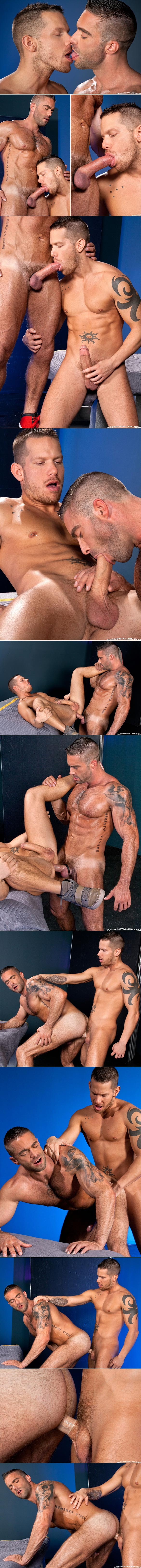 "RagingStallion: Shane Frost and Jake Genesis pound each other in ""Powerload"""